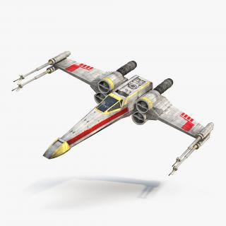 Star Wars X-Wing Starfighter Rigged Yellow 3D