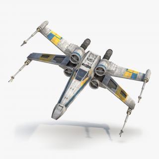 3D Star Wars X-Wing Starfighter Blue model