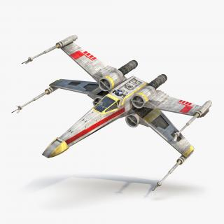 Star Wars X-Wing Starfighter and R2D2 Yellow 3D model
