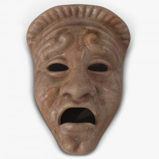 3D Theatre Tragedy Mask Red Marble
