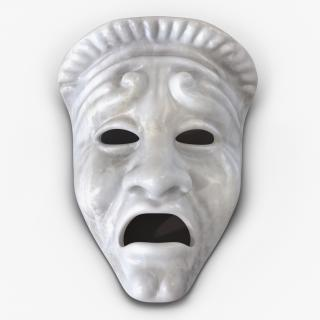 3D Theatre Tragedy Mask White Marble model