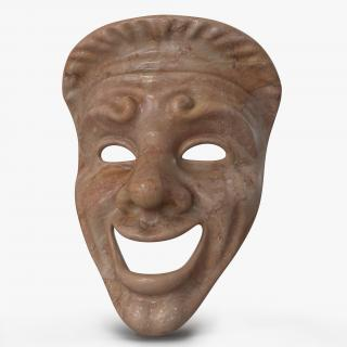 3D model Theatre Comedy Mask Red Marble
