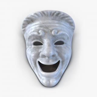 Theatre Comedy Mask White Marble 3D