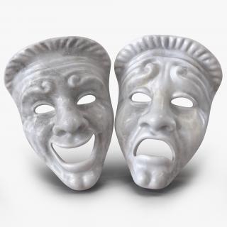 3D model Theatre Masks Set White Marble