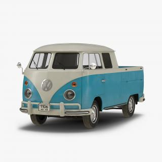 Volkswagen Type 2 Double Cab Pick Up Simple Interior Blue 2 3D model