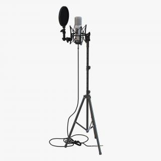 Studio Microphone and Stand 3D