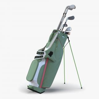 Golf Bag 4 Generic with Clubs 3D model
