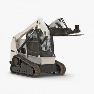 3D Compact Tracked Loader Bobcat With Brush Saw Rigged