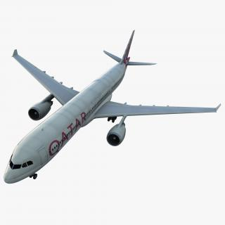 Jet Airliner Airbus A330-300 Qatar 3D model