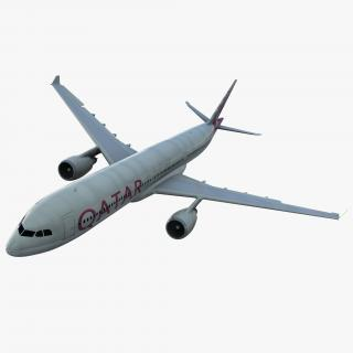 3D Jet Airliner Airbus A330-300 Qatar Rigged