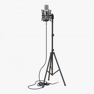 Studio Microphone and Stand 2 3D model