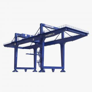 3D model Rail Mounted Gantry Container Crane Blue
