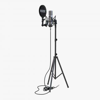 Studio Microphone Rode and Stand 3D