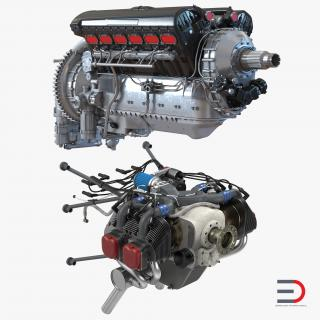 Piston Aircraft Engines Collection 3D model