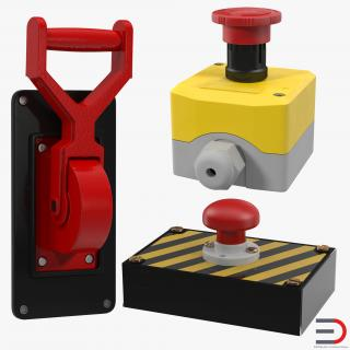 3D Industrial Power Switches Collection