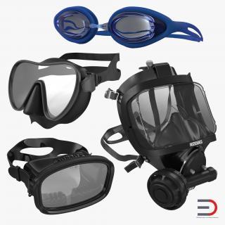 Scuba Masks Collection 3 3D model