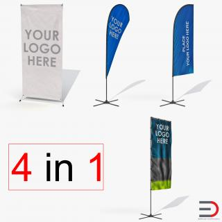 Banner Stands Generic Collection 3D