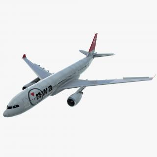 Jet Airliner Airbus A330-200 Northwest Airlines Rigged 3D model
