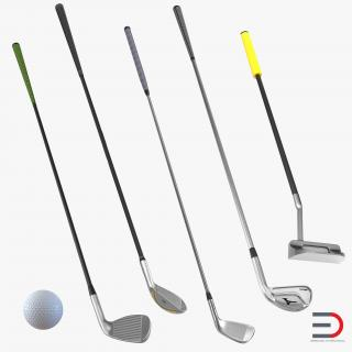 3D model Golf Clubs and Ball Collection
