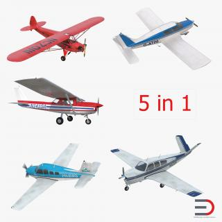 3D Private Airplanes Collection model