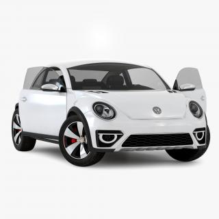 3D model Volkswagen Beetle 2016 White Rigged