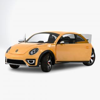 3D Volkswagen Beetle 2016 Yellow Rigged