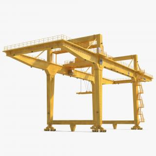 Rail Mounted Gantry Container Crane Yellow 3D