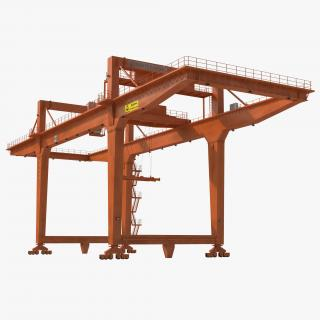 Rail Mounted Gantry Container Crane Orange 3D
