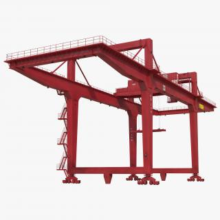 Rail Mounted Gantry Container Crane Red 3D model