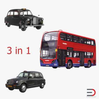 3D London Bus and Taxi Vehicle Set