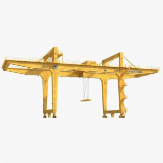 Rail Mounted Gantry Container Crane Rigged Yellow 3D model