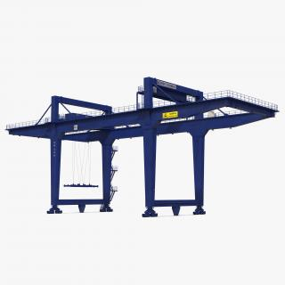 Rail Mounted Gantry Container Crane Rigged Blue 3D