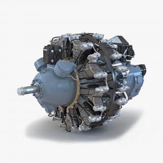 3D Radial Engine Pratt and Whitney R-2800 model