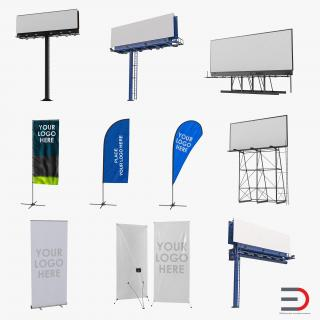 Billboards and Banner Stands Collection 3D model