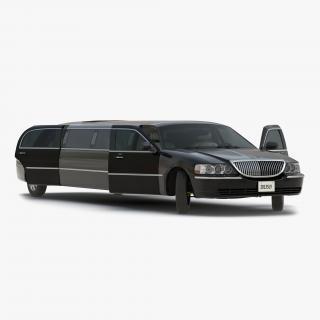 3D model Generic Limousine Black Rigged