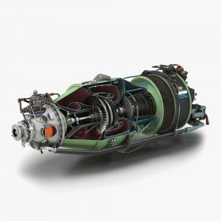 3D Turboprop Aircraft Engine Canada PT6 Sectioned
