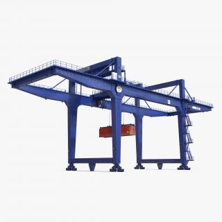 Rail Mounted Gantry Container Crane Blue and 40 ft ISO Container 3D model