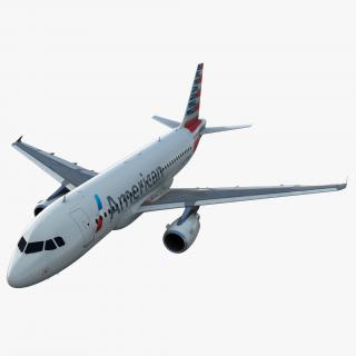 3D Airbus A319 American Airlines Rigged