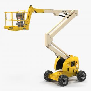Telescopic Boom Lift JLG 450AJ Yellow Rigged 3D model