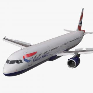 Airbus A321 British Airways Rigged 3D model