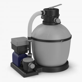 Swimming Pool Water Filter with Water Pump 3D