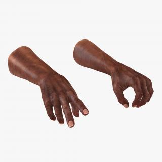 3D model Old African Man Hands 2 Rigged