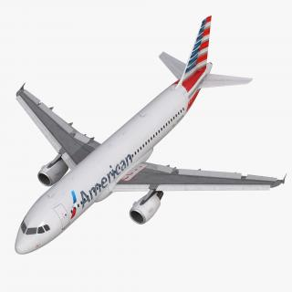 3D Airbus A320 American Airlines Rigged