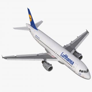 3D Airbus A320 Lufthansa Rigged model