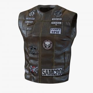 3D model Leather Biker Vest 2