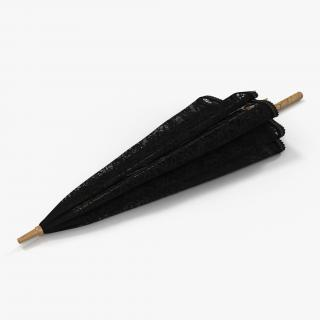 Umbrella Lace Parasol Folded Black 3D model