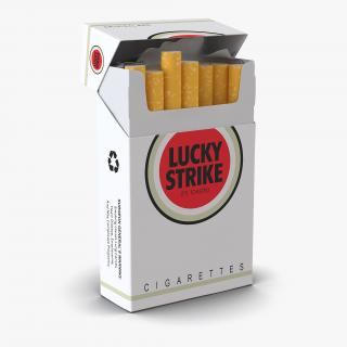 3D model Opened Cigarettes Pack Lucky Strike