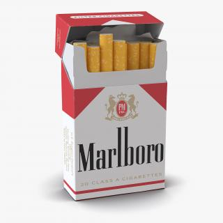 3D Opened Cigarettes Pack Marlboro