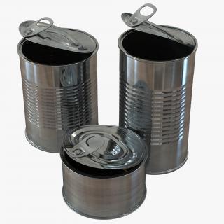 3D Open Empty Tin Cans Set model