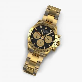 Rolex Gold Daytona Black Dial 3D model